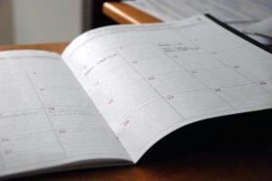 white calendar open