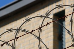 Barbed wire near jail