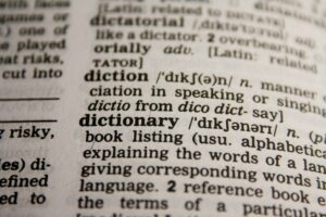 words in a dictionary